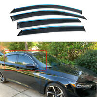 Clips Tape-on Chrome Trim Door Vent Visor Window Deflector For 2018-2019 Accord