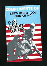 Detroit Tigers--1988 Pocket Schedule--Lee's Manufacturing