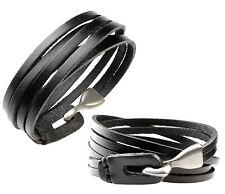 A101 Herren Wickel Armband Leder Schmuck Leder Biker Rock Gothic Bracelet Black