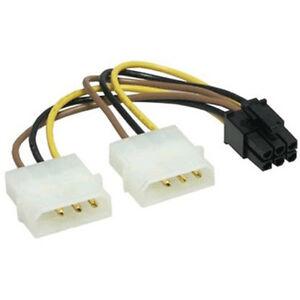 PCI Express Stromadapter 2x Molex nach 6 pins PCIe.  15 cm