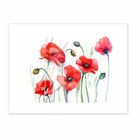 Flowers Painting Of Poppies  Print Canvas Premium Wall Decor Poster
