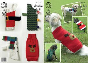 King Cole Knitting Pattern Christmas Dog Coats Double Knit DK - 4115