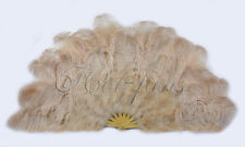 "Burlesque 53"" Light camel Marabou & Ostrich Feathers Fan Bamboo Carrying box"