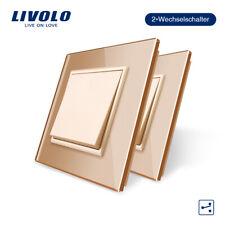 2PCS/Set LIVOLO EU Standard Button LED Light Switch Gold 1-Gang 3-Way