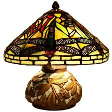 """10"""" Tall Dragonfly Lamp Stained Glass Shade Lighting Mosaic Base Table Light"""