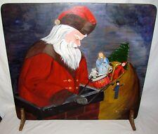 VINTAGE SANTA CLAUS PAINTED CHRISTMAS ART BOARD ~ HANDPAINTED