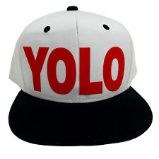 YOLO WHITE/BLACK (FLOCK RED) Snapback Cap