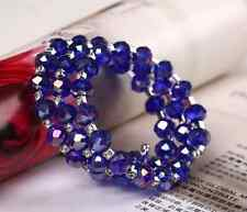 ROYAL BLUE FACETED GLASS BEAD & DIAMANTE CRYSTAL STRETCH MEMORY WIRE BRACELET