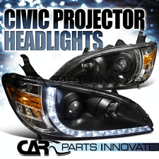 Fit 04-05 Honda Civic Replacemwnt R8 LED DRL JDM Black Projector Headlight Pair