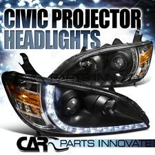 Fit 04-05 Honda Civic R8 LED DRL JDM Black Projector Headlight Pair