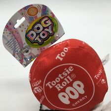 Tootsie Roll Pop Cherry  Dog Squeaky Toy Cosmic Pet Durable Fabric