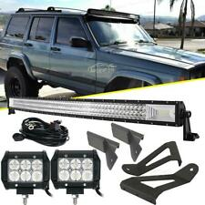 "For Jeep Cherokee XJ 50"" Curved LED Light Bar +4"" 18W +Mounting Bracket Tri Row"