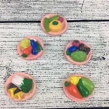 Vintage Refrigerator Magnets Food Vegetable Fruit Pink Platter 5 Plastic Magnets
