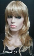Fashion Women's Long Blonde Full Wig w Highlights, skin part