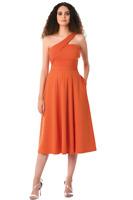 Eshakti Orange Knit Dress Plus Sz 1X One Shoulder Wrap Fit & Flare Pockets