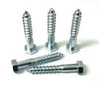Coach screws. Hex head. M12 x 75mm. Zinc. Bolt. DIN571. Wood fixing. Pack of 10.