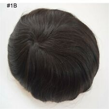 #1B Replacement System MONO PU Thin Skin Men's Toupee Remy Human Hair Hairpieces