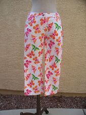 Lilly Pulitzer White Butterfly Print Stretch Cotton Fabulous Capri Jeans - 4