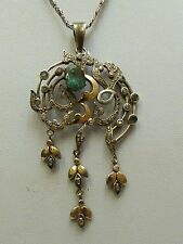 Vintage pendentif Or Argent Emeraude Diamant roses avec chaîne rare HOMOLOGUE