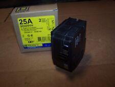 New Square D 25 Amp 2 Pole Plug-On Circuit Breaker 120/240 Vac Qo225Vh