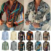 Men Casual Floral Slim Streped Print T-Shirt Long Sleeve Blouse Tee Shirt Tops