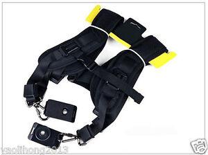 Double Dual Shoulder Sling Belt Strap for 2/Two DSLR Quick Rapid Digital Cameras
