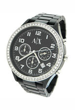 NEW ARMANI EXCHANGE CHRONOGRAPH GUNMETAL CRYSTAL CASE LADIES WATCH AX5104