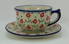 Bunzlauer Keramik Tasse mit Unterteller (F036-AC61) - Blumen - 0,3Liter