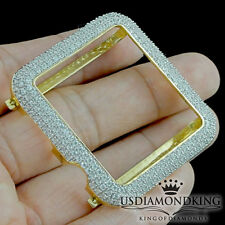 14K Yellow Gold Over Real Silver Apple #1 Watch Lab Diamond Case Sport Bezel New
