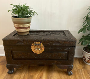 Vintage Style Small Dark Brown Floral Carved Wooden Storage Box Chest Trunk