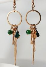 Chandelier Ohrhänger Strass Tropfen Perlen Schlüssel Ketten Kleeblatt grün gold