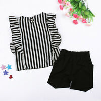 Popular Toddler Kids Girls Clothes Striped T-shirt Tops+Shorts Pants Outfits Set