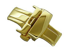 Gold stainless steel butterfly deployment clasp 22mm