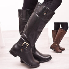 Ladies Womens Knee High Riding Boots Zip Casual Winter Warm Flat Shoes Size 3, 4
