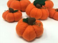 HALLOWEEN PUMPKINS Felt Stuffed Halloween Decor Set of 6 Orange Pumpkins NEW
