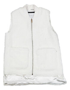 Calvin Klein Faux Fur Sherpa Fleece Outerwear Vest Jacket Small Cloud NWT $79