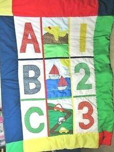 Baby,Toddler ABC,Number Patchwork Quilted Coverlet 38 x 50 Crib or Bed