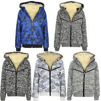 Boys Kids V Full Inside Fur Fleece Bomber Hooded Jacket Coat Zip Hoodie Sweat