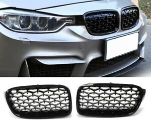 BMW 3 series F30 F31 full black diamond style kidney grilles grille grills UK