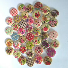 Lot of 20 Buttons round Wooden Multicolored 15mm 2 Holes Needlework Jewelry