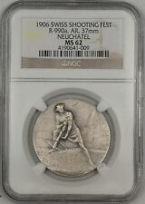 1906 Neuchatel Switzerland Silver Swiss Shooting Fest Medal R-990a NGC MS-62