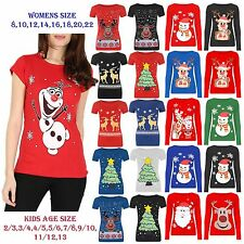 New Women's Kids Children Girls Novelty Vintage Retro Christmas Xmas Top T shirt