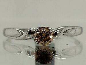 0.18Ct Sparky Eye-Clean Champagne Natural Diamond Ring Sterling Silver nxs028