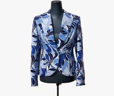 JULIANA Collezione Blue Retro Printed Cotton Matelasse Fabric Blazer (Size 4)