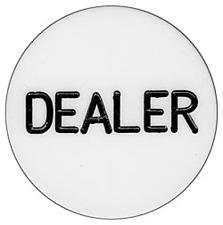 Standard Dealer Button White Solid Acrylic Poker Casino - Lammer