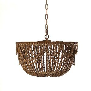 Wood Beaded Chandelier in Aged Brown Farmhouse Country