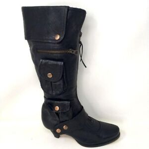 Seychelles Black Leather Front Zip Cuffed Heel Boots with Pockets 6