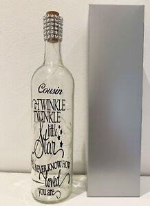 Light up bottle, christmas, birthday gift, COUSIN, twinkle twinkle little star