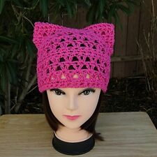 Hot Pink Summer Pussy Cat Hat 100% Cotton Pussyhat Crochet Knit Dark Pink Beanie
