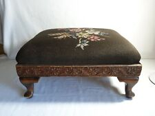 ANTIQUE NEEDLEPOINT FOOTSTOOL VICTORIAN FLOWERS FLORAL CARVED BEAUTIFUL